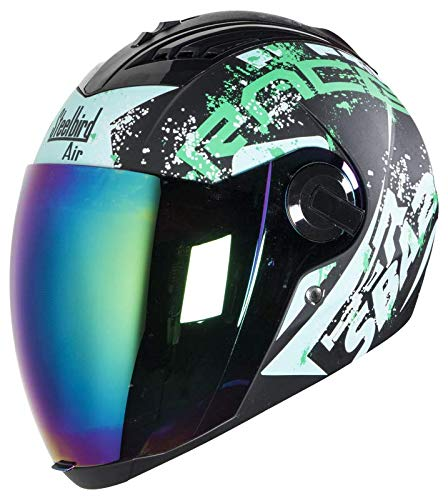 55bb31f9 Image Unavailable. Image not available for. Colour: Steelbird SBA-2 Race  Full Face Helmet in Matt Finish With Chrome Visor (Large