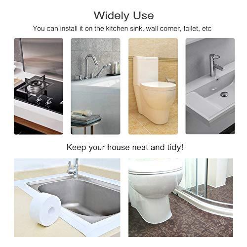 LMHOME Caulk Strip,Tub Caulking Tape PVC Self-Adhesive Waterproof White-38-11