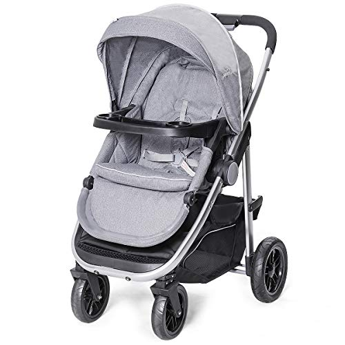 Costzon Baby Stroller, Convertible Baby Carriage, Infant Pram Stroller with Cup Holder and 5-Point Safety System (Gray) (Stroller Buggy)
