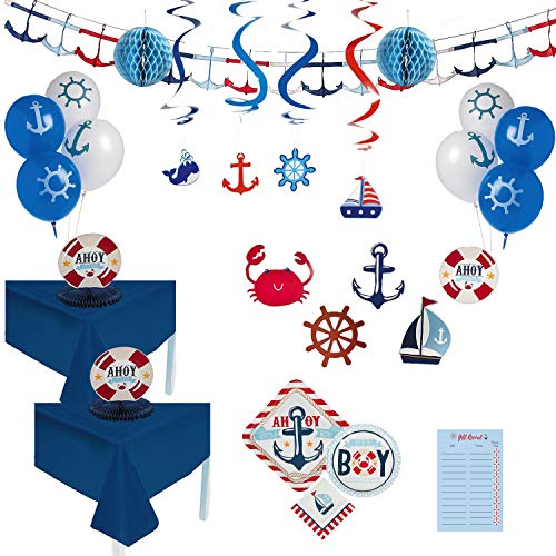 Nautical Baby Shower Decorations for Boy, Deluxe Tableware and Decoration Kit for 16 Guests -