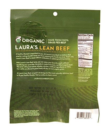 Laura's Lean Beef Organic Grass Fed Jerky, Original, 3 Oz Bag