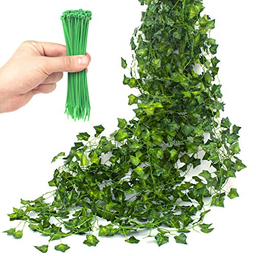 TumivaDeco Artificial Ivy Garland 12 Pcs 84 Ft Total - 50 pcs Green Cable Tie - Fake Ivy Leaves Greenery Vines for Wedding Party Kitchen Garden Wall Decoration - Hanging Plants for Indoor Outdoor Use ()
