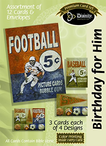 Divinity Boutique Greeting Card Assortment: Birthday for Him, Vintage Sports with Scripture (21516N)