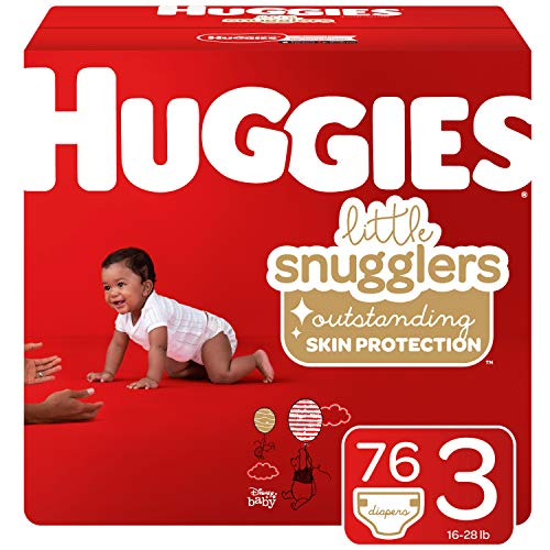Huggies Little Snugglers Baby Diapers, Size 3 (16-28 lb.), Giga Jr Pack, 76 Count (Packaging May Vary) (Huggies Little Movers Size 3 28 Count)