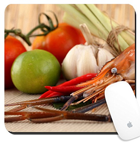 Shrimp Tom - Luxlady Suqare Mousepad 8x8 Inch Mouse Pads/Mat design IMAGE ID: 22782563 Asian herb and spicy with shrimps Tom Yum