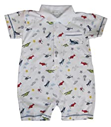 Kissy Kissy Baby Boys Aviators Print Short Playsuit With Collar, multi, 3-6 Months