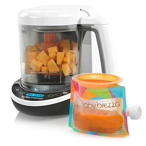Baby Brezza Small Baby Food Maker Set - Steamer and Blender In One – Mix or Puree Baby Food for Pouches - Make Organic Food for Infants and Toddlers - Includes 3 Pouches and 3 Funnels