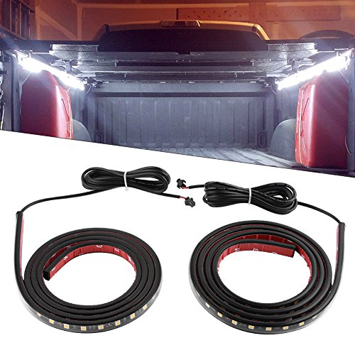 YITAMOTOR 2PCS 60in White Truck Bed Lights Waterproof Tailgate Light Bar Strip with On-off Switch for RV SUV Jeep Pickup Truck Cargo