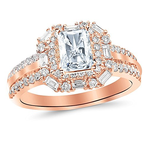 1.2 Ctw Double Row Baguette and Round Halo Engagement Ring w/Radiant 0.5 Carat Forever One Moissanite - Double Baguette Row