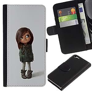 KLONGSHOP // Tirón de la caja Cartera de cuero con ranuras para tarjetas - carácter lindo madre muchacha niño marrón - Apple Iphone 6 //