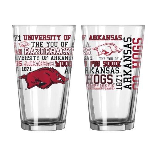 NCAA Arkansas - Spirit Pint Glasses (2) | Arkansas Razorbacks 16 oz. Beer Pints - Set of 2