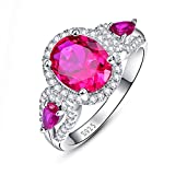 Avecon Women's 925 Sterling Silver CZ 2.95ct Oval Cut Created Red Ruby Halo Engagement Band Ring