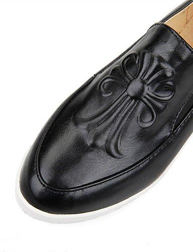 ZQ gyht mujer-tacón mujer-tacón mujer-tacón Schuhe plano-comfort/Spitze ROTonda-mocasines-casual-semicuero-negro/weiß- 13dbb3
