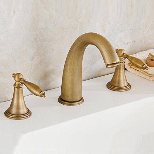 MEIBATH Waschtischarmatur Badezimmer Waschbecken Wasserhahn Küchenarmaturen Antike 3 Löcher Kupfer 2 Stück warmes und Kaltes Wasser 3-teilig gebürstet Küchen Wasserhahn Badarmatur