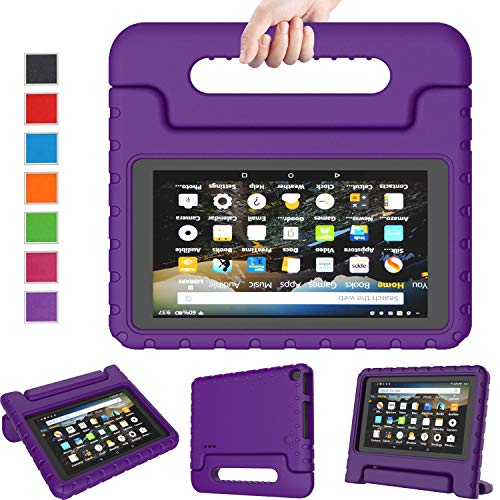 LTROP All New Fire 7 2019 Case Kids Case for Fire 7 Tablet 9th Generation 2019 Release (7 Display), Portable Shock Proof Light Weight Fire 7 2019 Tablet Case for Kids - Purple