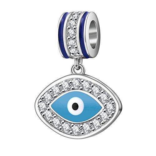 SOUKISS Evil Eye Charms 925 Sterling Silver Symbol of Insight Bead Lucky Charm for European Bracelet (C) (Eye Symbol)