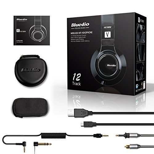 Bluedio V (Victory) Pro Patented PPS12 Drivers Wireless Bluetooth headphones (Black) by Bluedio (Image #6)