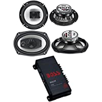 2) Boss R94 6x9 500W 4 Way Car + 2) 6.5 300W 3 Way Speakers + 200W 2-Ch Amp