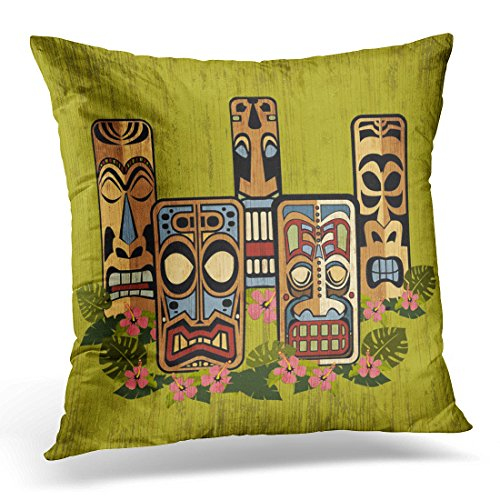 TORASS Throw Pillow Cover Retro Hawaiian Tiki Party Vintage 1950S Decorative Pillow Case Home Decor Square 20x20 Inches Pillowcase