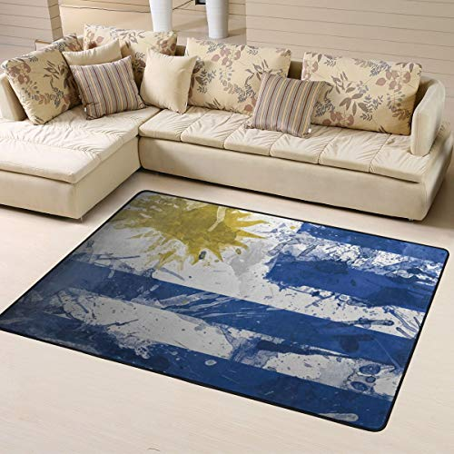 (Soft Area Rugs for Bedroom Kids Room Children Playroom Non-Slip Living Room Carpets Nursery Mat Home Decor 63 x 48 inches (Uruguay Flag Paint))