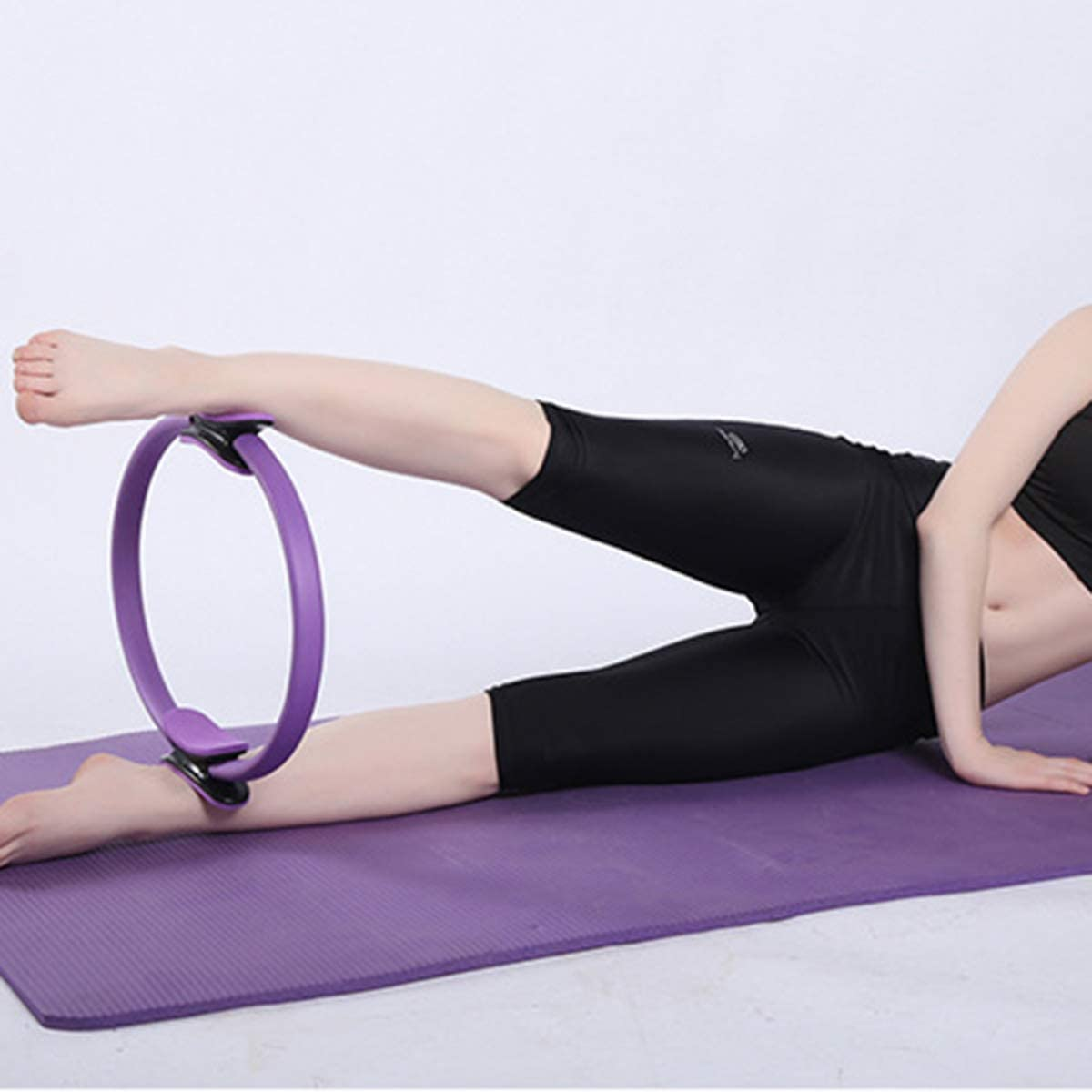 Ruiqas Pilates Resistance Ring Yoga Pilates Circle Portable Fitness Pilates Ring Lightweight Pilates Ring for Toning Abs Thighs and Legs