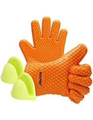 Oven Mitts, RISEPRO Heat Resistant Grilling BBQ Silicone Gloves For Kitchen,  Cooking, Baking, Smoking, Boiling U0026 Potholder