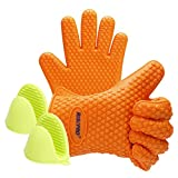 Kitchen Stuff Oven Mitts, RISEPRO Heat Resistant Grilling BBQ Silicone Gloves for Kitchen, Cooking, Baking, Smoking, Boiling & Potholder