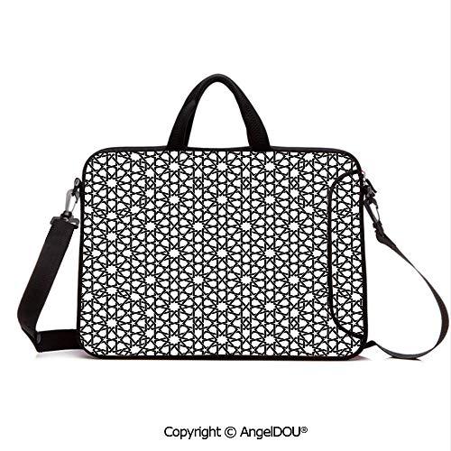 AngelDOU Laptop Shoulder Bag Waterproof Neoprene Computer Case Moorish Star Pattern with Intertwined Lines Oriental Motif Ancient Arab Elements with Handle Adjustable Shoulder Strap and External Sid