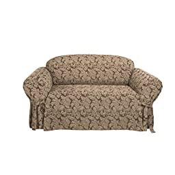Sure Fit Scroll 1-Piece - Sofa Slipcover  - Brown (SF36217)