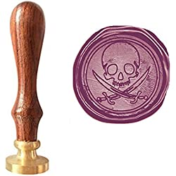 MDLG Vintage Pirate Skull Sword Caribbean Pirate Picture Logo Wedding Invitation Wax Seal Sealing Stamp Rosewood Handle Set