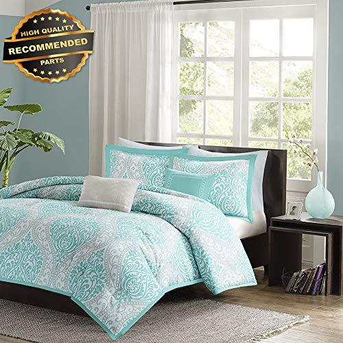 Gatton Premium New Beautiful Chic Aqua Teal Light Blue Grey Soft Comforter Set Pillows Full Queen | Style Collection Comforter-311012845