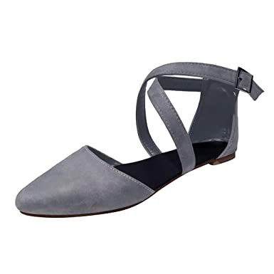 d8e195fd8433d Amazon.com: Claystyle Womens Flats Pointed Toe Flock Upper Shoes ...