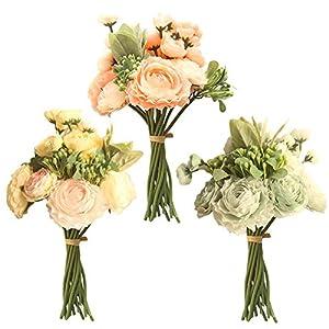 CXUKUN Artificial Flowers Persian Buttercup Crowfoot Ranunculus Wedding Bride Hand Tied Bouquet Home Decoration 44