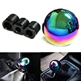 iJDMTOY JDM Neo Chrome Round Shift Knob For Both Manual or Automatic, For Honda Acura Mazda Mitsubishi Nissan Infiniti Lexus Toyota Scion, etc