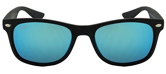 1d0d72486103b Ray-Ban Matte Black Blue Mirror 48mm NEW WAYFARER JUNIOR Square Sunglasses   Amazon.co.uk  Clothing