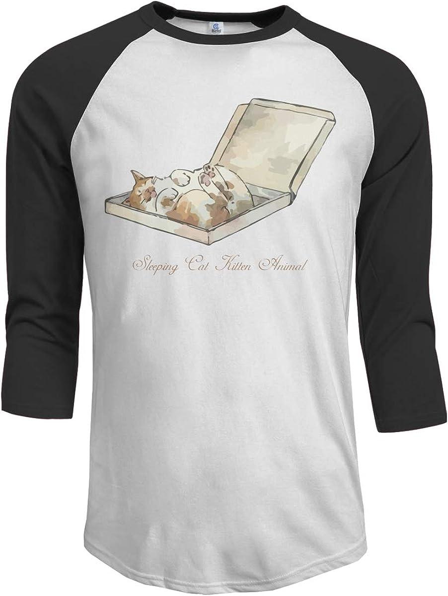 MiiyarHome Mens Raglan Sleeves Baseball T-Shirts Tired Cat 3//4 Long Sleeves Boys Jersey Tee Shirt Black