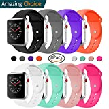 Silicone Band For Apple Watch, Classic Sport Replacement Strap for Apple Iwatch Sport Nike Edition all models Series 3, Series 2, Series 1 (8Pack, 38mm M/L)