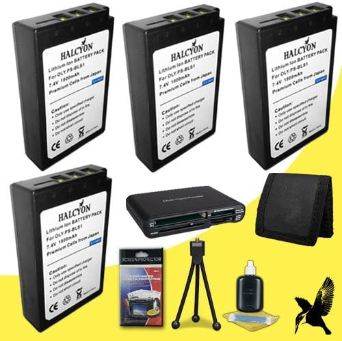 Multi Card USB Reader Memory Card Wallet Deluxe Starter Kit for Olympus PEN E-PL1 Digital Camera and Olympus BLS-1 Three Halcyon 1800 mAH Lithium Ion Replacement BLS-1 Battery and Charger Kit