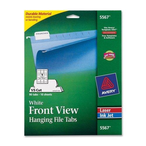 Adhesive Tabs Printable Hanging File (Print/Write-On Hanging Tabs, 1/5 Tab, 2 1/16 Inch, White, 90/Pack)