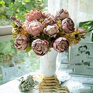 HuntGold 1X Artificial Peony Silk Flowers Bouquet for Wedding Party Bouquet Decoration 50