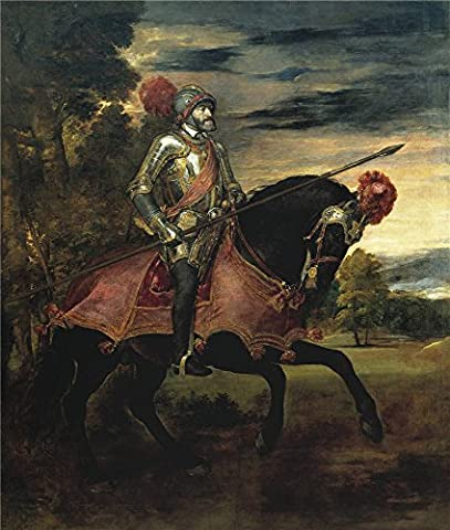 High Quality Polyster Canvas ,the High Quality Art Decorative Canvas Prints Of Oil Painting 'Titian [Vecellio Di Gregorio Tiziano] Emperor Carlos V On Horseback 1548 ', 18 X 21 Inch / 46 X 54 Cm Is Best For Bedroom Decor And Home Decoration And (Zune Home A V Pack)