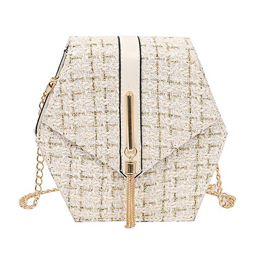 Rakkiss Women Messenger Bag Fashion Hexagon Woolen Tassel Shoulder Bag Chain Strap Square Bag -