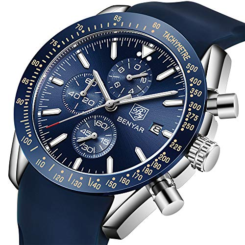 BENYAR - Stylish Wrist Watch for Men, Genuine Stainless Steel Strap, Perfect Quartz Movement, Waterproof and Scratch Resistant, Analog Chronograph Business Watches, Best Mens Gift.