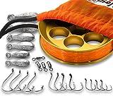 Yoyito Saltwater Aluminum Hand Line Reel Pocket Emergency Survival Fishing Kit (Gold Reel / 30 lb Tangerine line/Orange Case)
