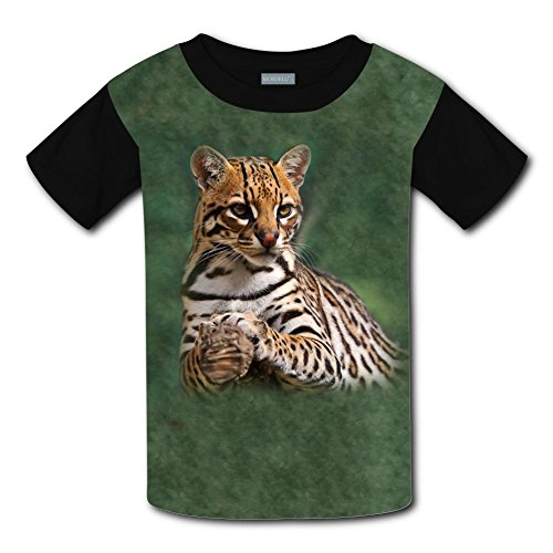 Ocelot O-Neck 100% Polyester Fiber Cartoon Short Sleeve Top Tshirt For Unisex Kids Xl
