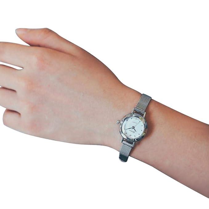 JiaMeng Mujer Reloj de Casual, Reloj Delicado del dial de Las Mujeres del Cuarzo de la muñeca del análogo pequeño Reloj de Lujo del Negocio(Plata): ...