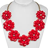 Charmed Craft Fashion Red Flower Statement Necklace Golden Chain Chunky Bubble Pendant Jewelry For Women Girls