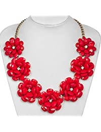 Charmed Craft Fashion Flower Statement Necklace Golden Chain Chunky Bubble Pendant Jewelry For Women Girls