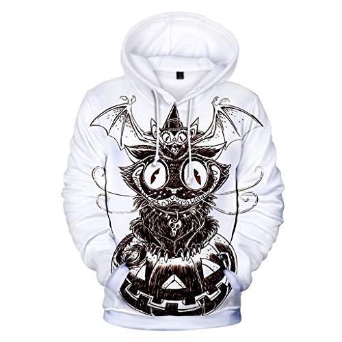 Hoodies for Men Zipper Skull,Forthery Unisex 3D Print Halloween Long Sleeve Novelty Hoodie Pullover Fleece Sweatshirt(White,XXS) (Brown Jordan Miami)