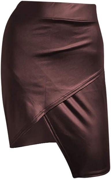 Shenye Faldas de piel para mujer, cintura alta, sexy, casual ...
